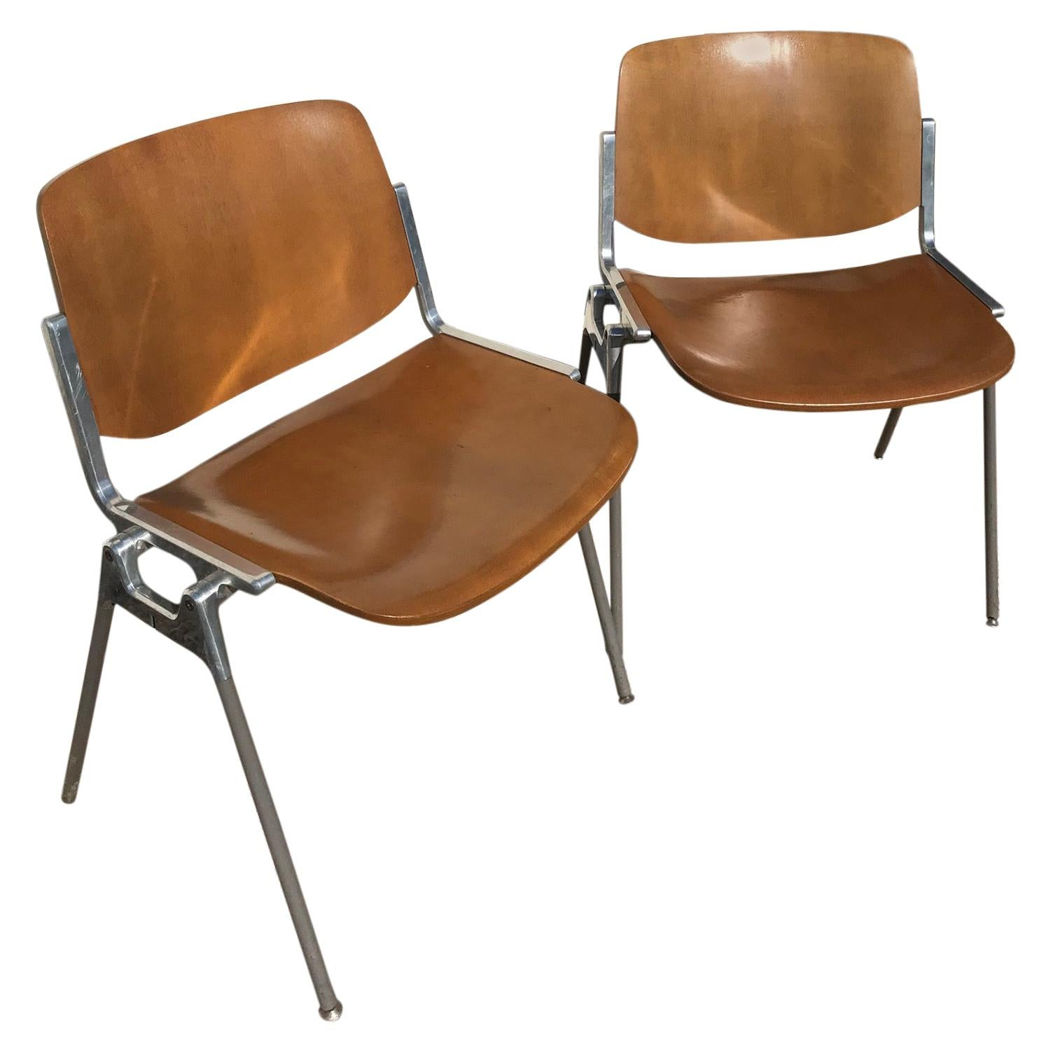 Pair of Modern Giancarlo Piretti DSC 106 Conference Chairs, 1970s