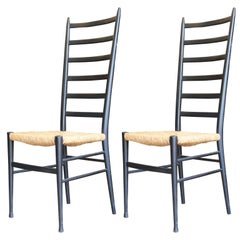 Pair of Modern Gio Ponti Style Black Ladder Back Woven Cord Dining Chairs