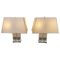 Pair of Modern Glass Cube Lamps with Plated Silver Accents