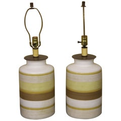 Pair of Modern Glazed Pottery Table Lamps