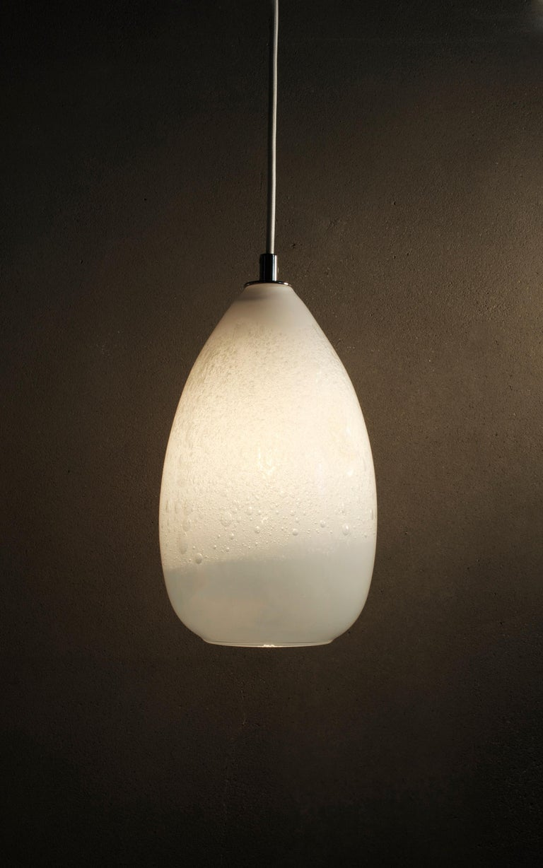 Mid-Century Modern Pair of Modern Hand Blown Glass Lights, Alabaster Cone Pendants, in Stock For Sale