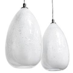 Pair of Modern Handblown Glass Lights, Alabaster Cone Pendants - In Stock