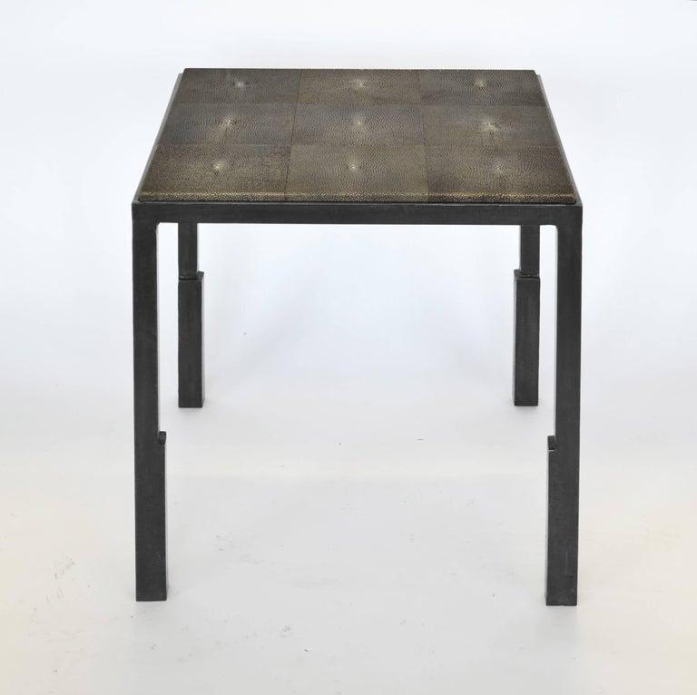 American Pair of Modern Handmade Blackened Steel & Shagreen Side Table by J.M. Szymanski For Sale
