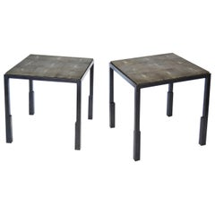 Shagreen Side Table Pair Modern Geometric Stark Thick Handmade Blackened Steel