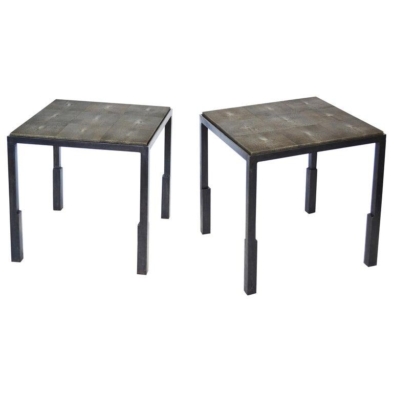 Pair of Modern Handmade Blackened Steel & Shagreen Side Table by J.M. Szymanski For Sale