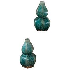 Pair of Modern Handmade Chinese Glazed Double Gourd Vases