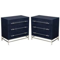 Pair of Modern Indigo Chests of Drawers
