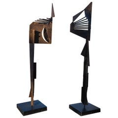 Pair of Modern Iron Sculptures in Male and Female Form