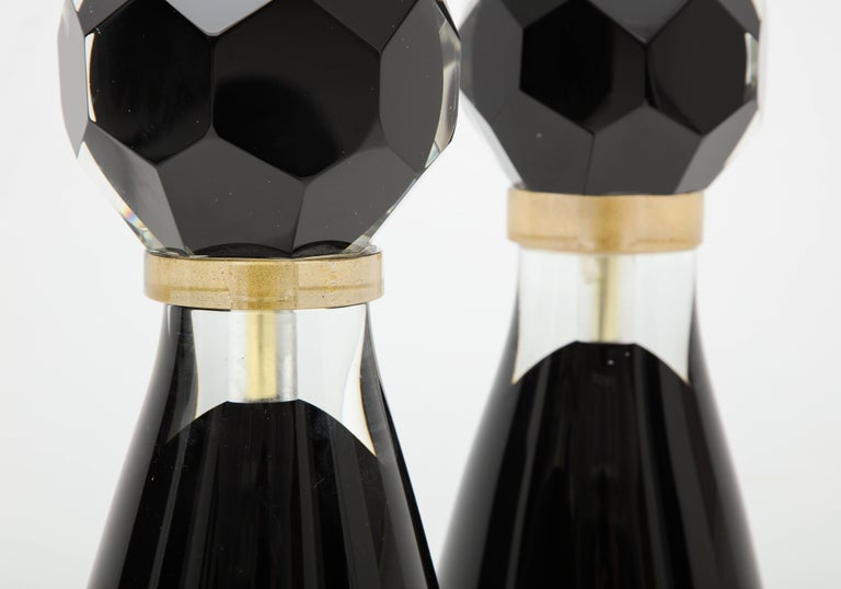 Contemporary Pair of Modern Italian Black and Gold Murano Glass Lamps, Signed For Sale