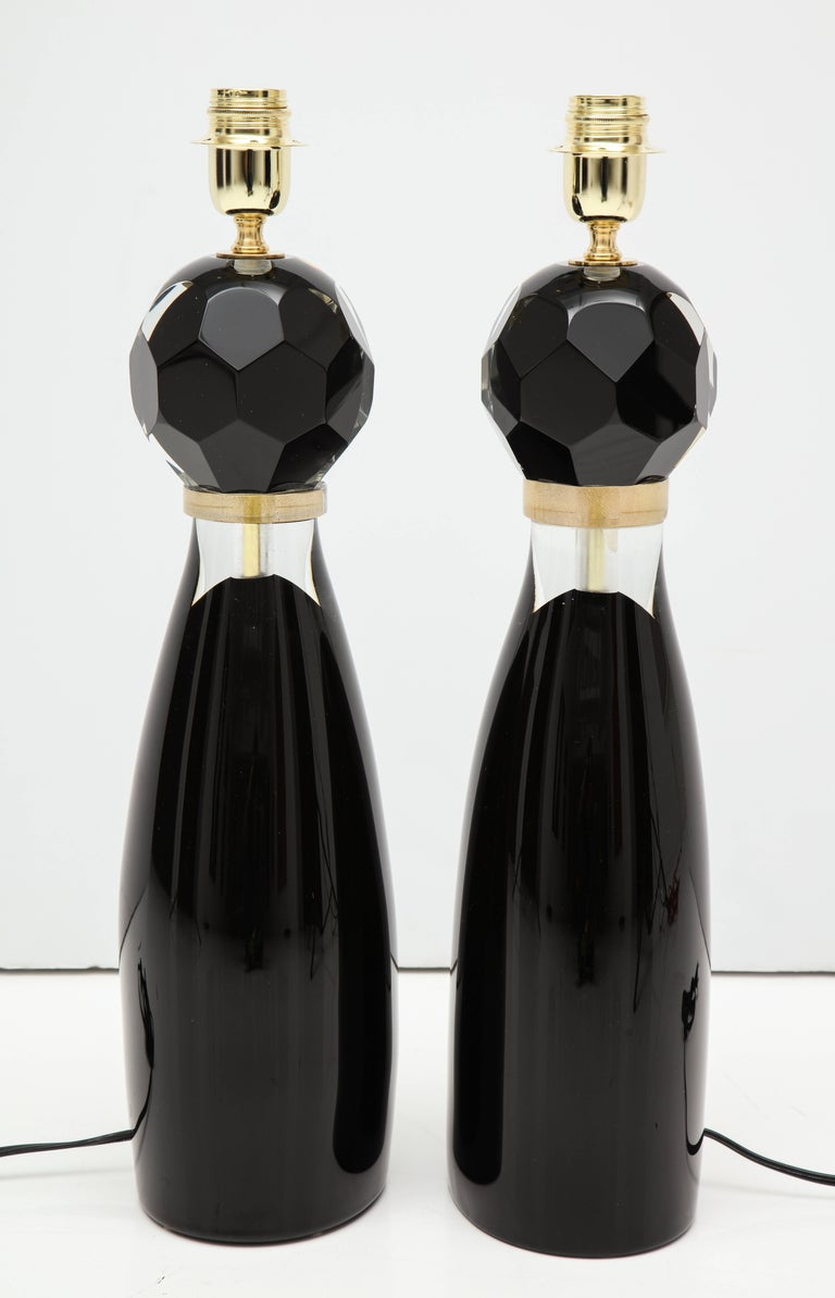 Pair of Modern Italian Black and Gold Murano Glass Lamps, Signed For Sale 1