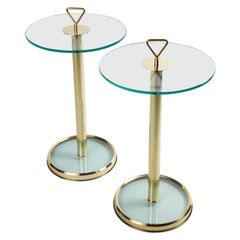 Pair of Modern Italian Glass and Brass Side Tables