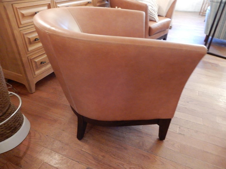 Art Deco Pair of  Modern Italian Leather Club or Armchairs For Sale