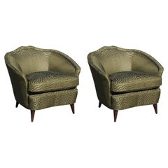 Pair of Modern Italian Lounge Chairs in Green Patterned Clarke and Clarke Fabric
