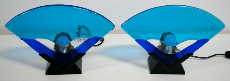Lacquered Pair of Modern Italian Murano Glass Table Lamps, 1980 For Sale