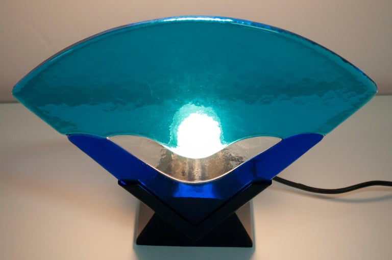 Pair of Modern Italian Murano Glass Table Lamps, 1980 In Good Condition For Sale In Cerignola, Italy Puglia