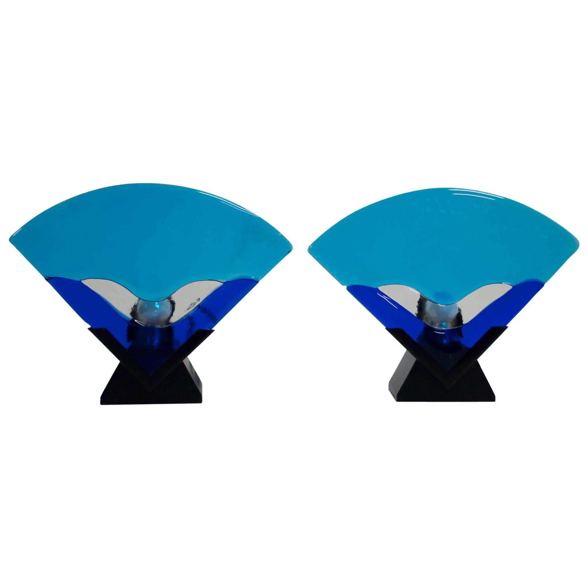 Pair of Modern Italian Murano Glass Table Lamps, 1980