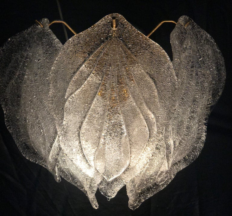 Pair of Modern Italian Murano Polar Ice Wall Lights or Sconces, 1970  In Excellent Condition For Sale In Rome, IT