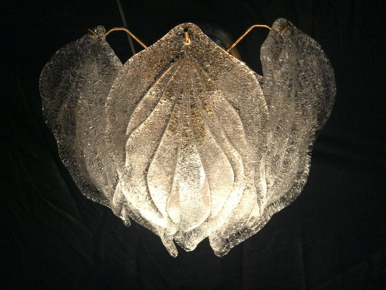 Blown Glass Pair of Modern Italian Murano Polar Ice Wall Lights or Sconces, 1970  For Sale