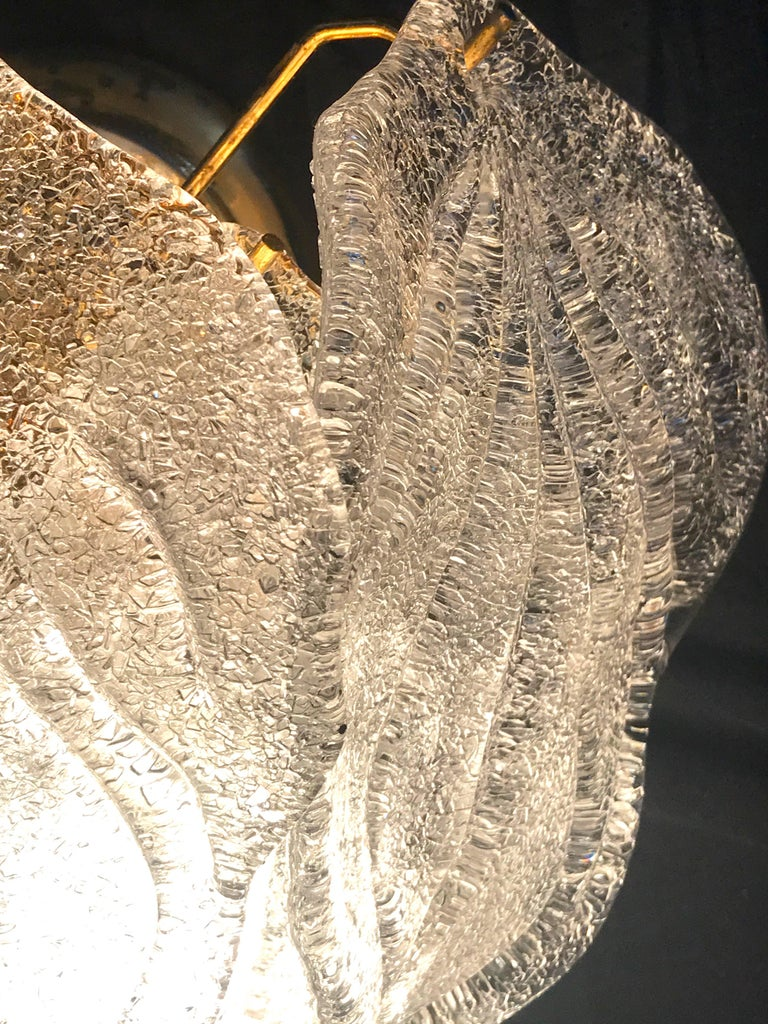 Pair of Modern Italian Murano Polar Ice Wall Lights or Sconces, 1970  For Sale 1