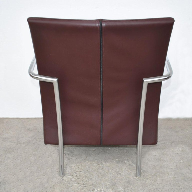 Leather Pair of Modern Italian Style Tubular Chrome Lounge Chairs For Sale