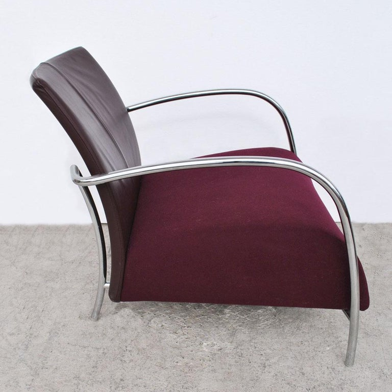 Pair of Modern Italian Style Tubular Chrome Lounge Chairs For Sale 1