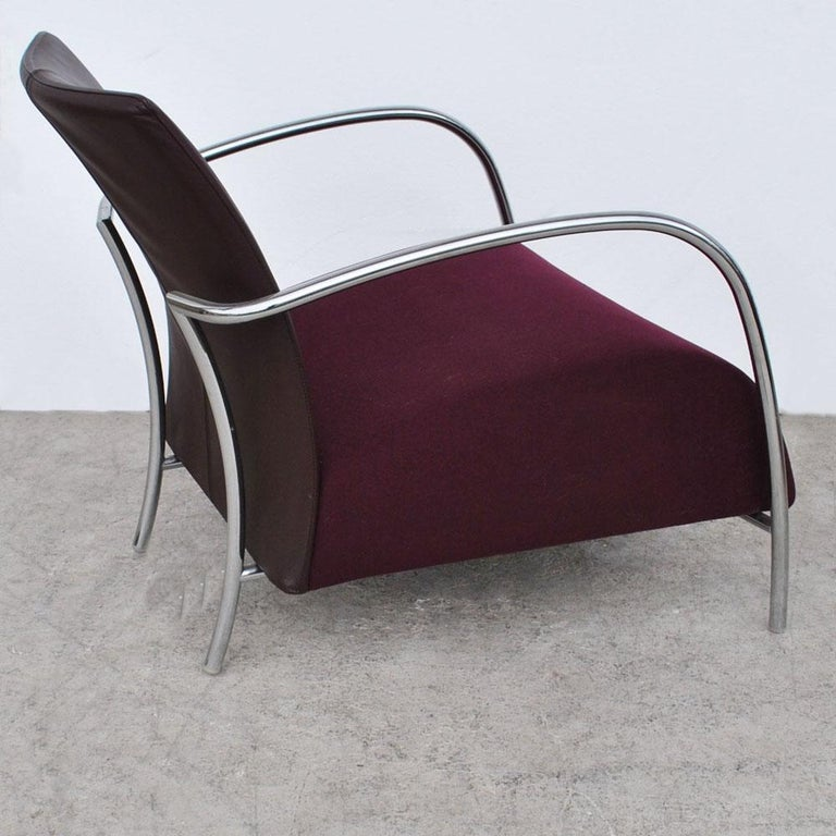 Pair of Modern Italian Style Tubular Chrome Lounge Chairs For Sale 2