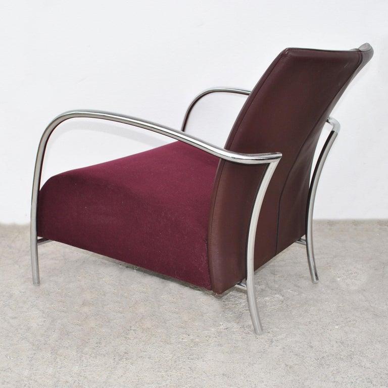 Pair of Modern Italian Style Tubular Chrome Lounge Chairs For Sale 3