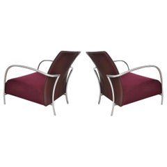 Pair of Modern Italian Style Tubular Chrome Lounge Chairs