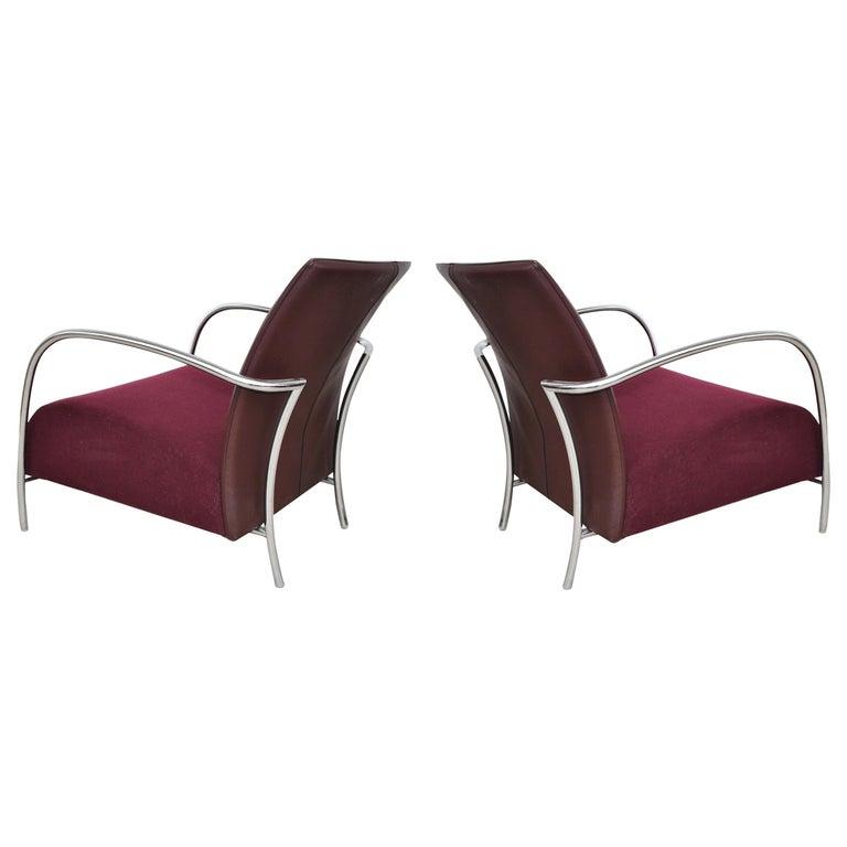 Pair of Modern Italian Style Tubular Chrome Lounge Chairs For Sale