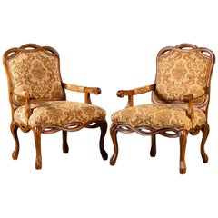 Pair of Modern Italian Upholstered Chairs Ribbon Motif Walnut Finish, circa 2000