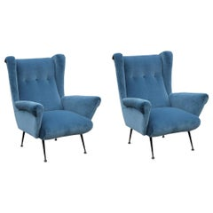 Pair of Modern Italian Wingback Lounge Chairs in Blue Velvet