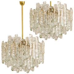 Pair of Modern Kalmar Brass Two-Tiered Ice Glass Pedant Chandeliers, 1970s