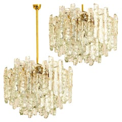 Pair of Modern Kalmar Brass Two-Tiered Ice Glass Pendant Chandeliers, 1970s