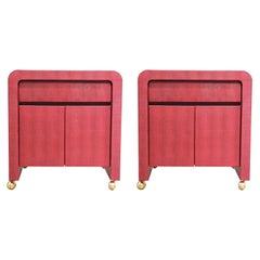 Pair of Modern Karl Springer Faux Lizard Burgundy Side Tables / Nightstands