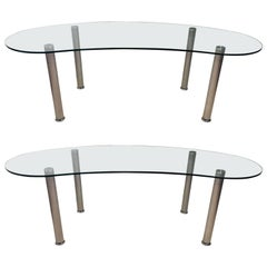 Pair of Modern Kidney Shaped Glass Top Desks on Steel Legs