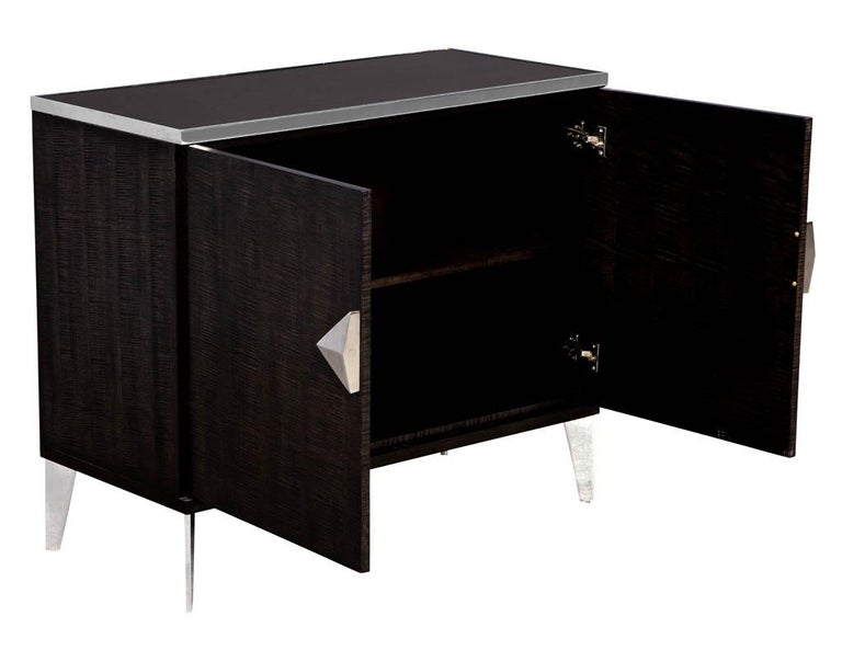 American Pair of Modern Lacquered Sycamore Chests For Sale
