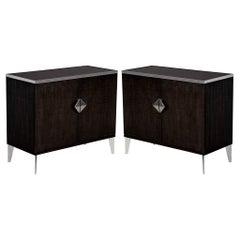 Pair of Modern Lacquered Sycamore Chests