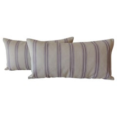 Pair of Modern Lavender and Taupe Long Bolster Decorative Pillows