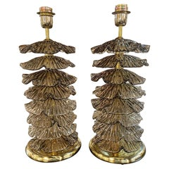 Pair of Modern Layered Murano Glass and Brass Lamps