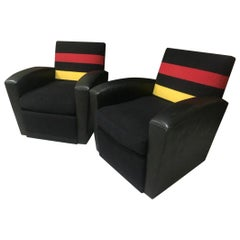 Pair of Modern Leather and Striped Wool Swivel Chairs