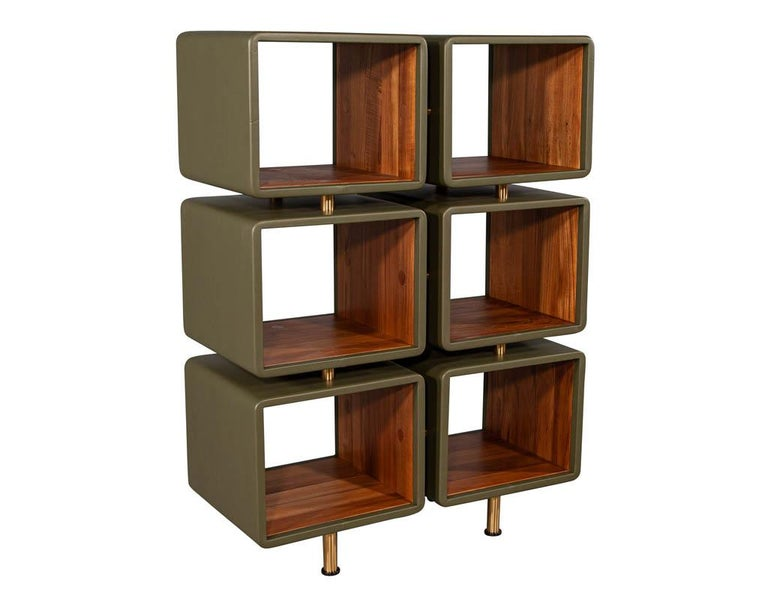 Pair of Modern Leather Clad Bookcases For Sale 5
