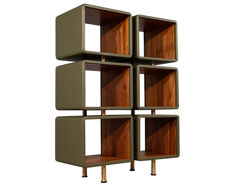 Pair of Modern Leather Clad Bookcases For Sale 6