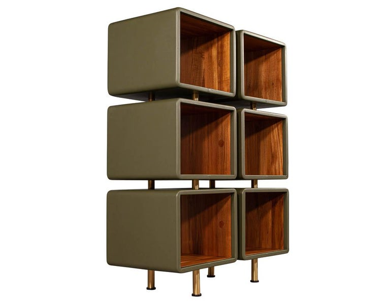 Pair of Modern Leather Clad Bookcases For Sale 7