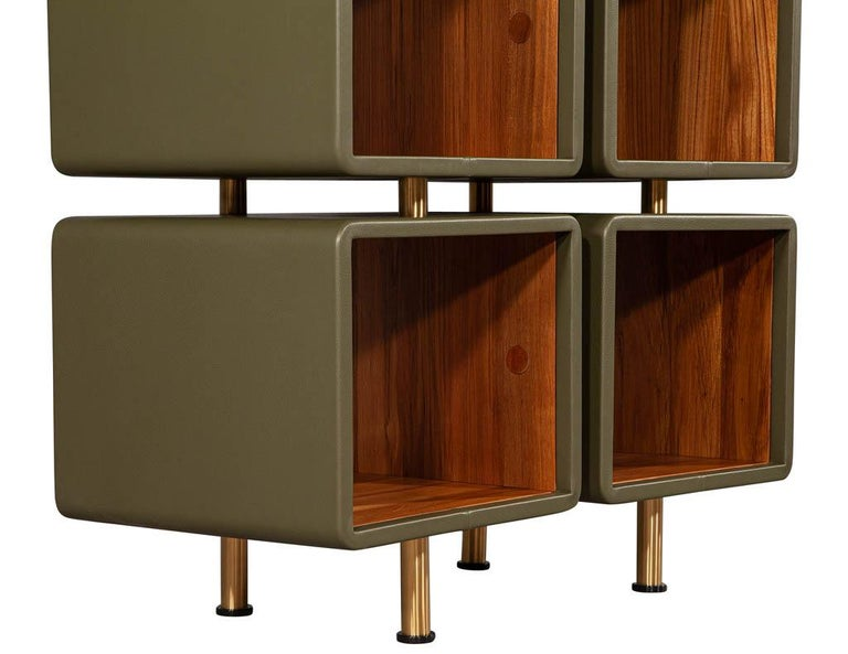 Pair of Modern Leather Clad Bookcases For Sale 8