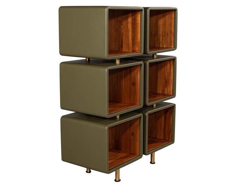 American Pair of Modern Leather Clad Bookcases For Sale
