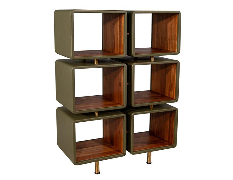Contemporary Pair of Modern Leather Clad Bookcases For Sale