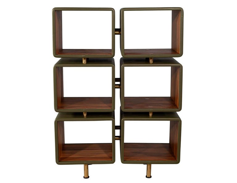 Pair of Modern Leather Clad Bookcases For Sale 1