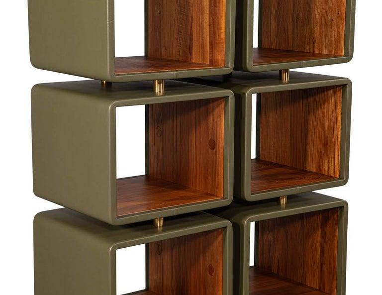Pair of Modern Leather Clad Bookcases For Sale 2