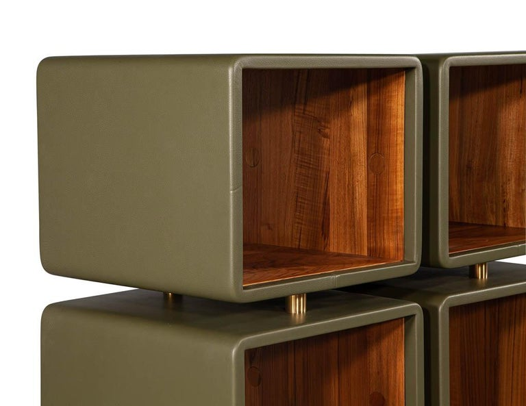Pair of Modern Leather Clad Bookcases For Sale 3