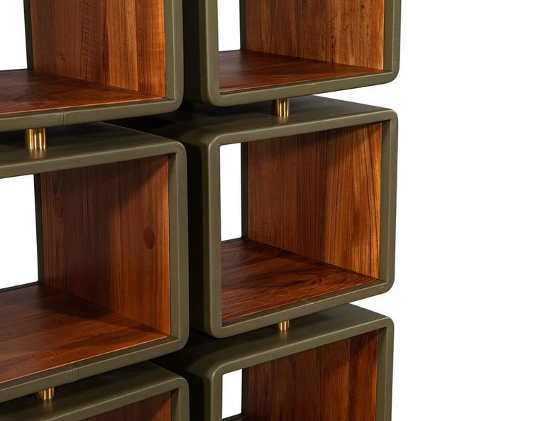 Pair of Modern Leather Clad Bookcases For Sale 4